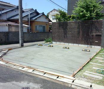 土間コンクリート打設後のカーポート