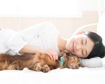 犬と女性が一緒に寝ている