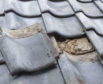 住宅の解体工事 瓦屋根 屋根修理
