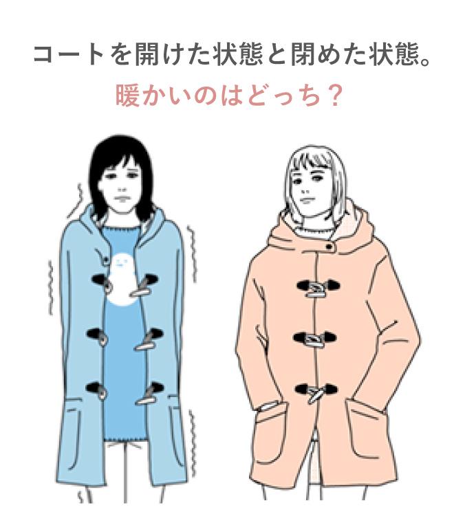 コートを開けた状態と閉めた状態。暖かいのはどっち?